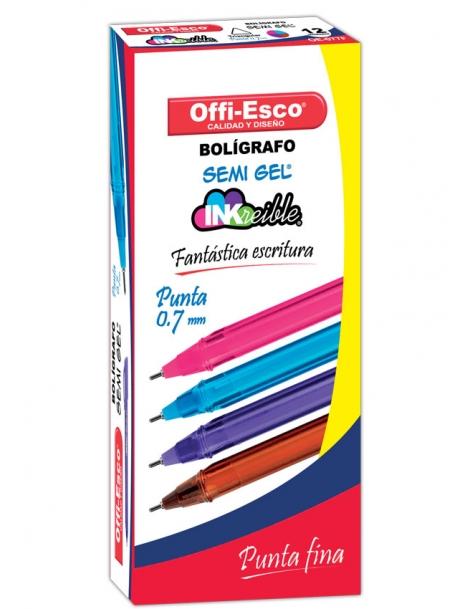 BOLIGRAFO SEMI GEL TRIANGULAR 0.7mm TRAZO FINO OE - 077F DISPLAY x 12
