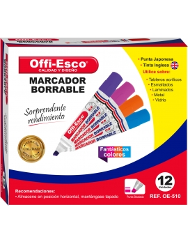 MARCADOR BORRABLE FANTÁSTICOS COLORES  OE- 510 DISPLAY x 12